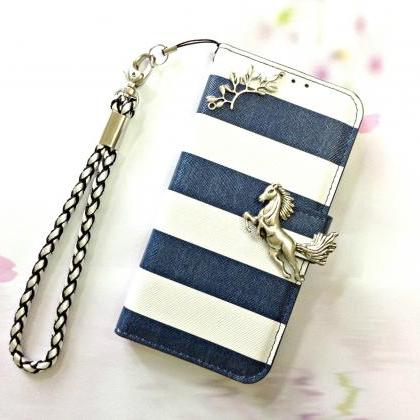 Stripe blue leather phone wallet, H..