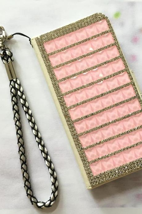 Pink Bling iphone 6 6s 4.7 leather wallet case, Crystal iphone 6 6s plus leather wallet case, iphone SE, 5c, 5, 5s bling leather wallet case, samsung galaxy S4, S5, S6, S6 Edge, S7, S7 Edge, Note 3, Note 4, Note 5, bling leather wallet case, item no.171
